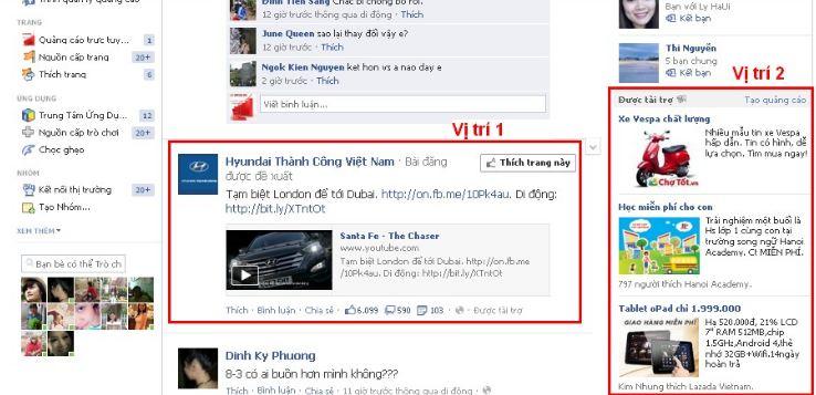 Những vị trí hiển thị quảng cáo Facebook