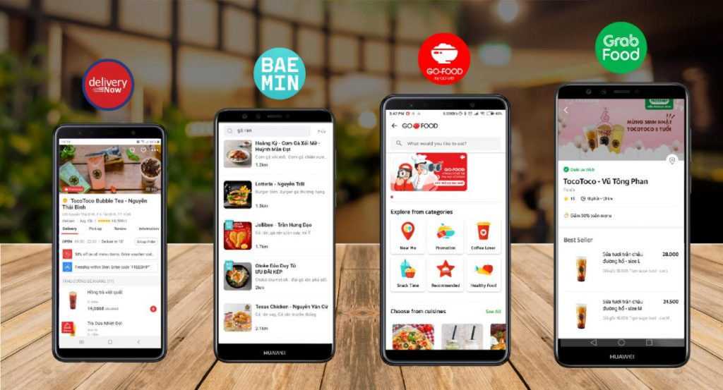 Hợp tác với các app order thực phẩm, đồ uống